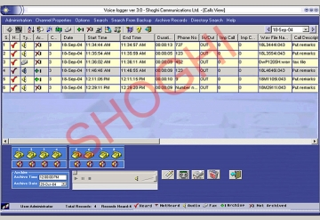 Main Screen of Voice and Fax Interception System