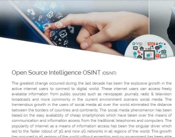 Open Source Intelligence OSINT